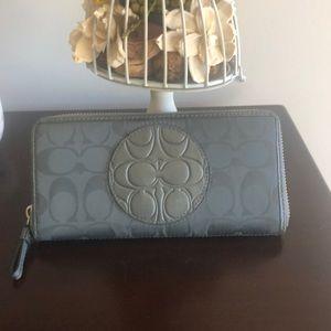 Coach Signature Accordian Wallet -Grey